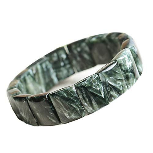 DUOVEKT Pulsera de serafinita verde natural, pulsera de serafinita joyería para mujeres y hombres, cuentas rectangulares de cristal, esfera, elástica, AAAAA, 15