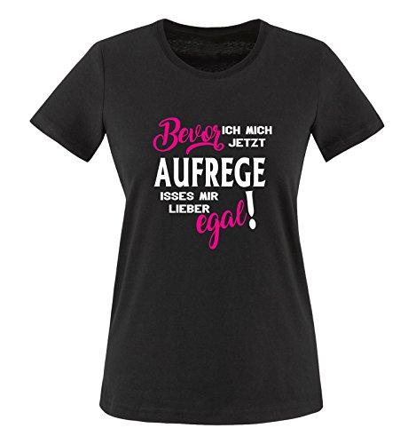 Comedy Shirts - Bevor ich Mich jetzt Aufrege isses Mir Lieber egal! - Damen T-Shirt - Schwarz/Weiss-Pink Gr. XL