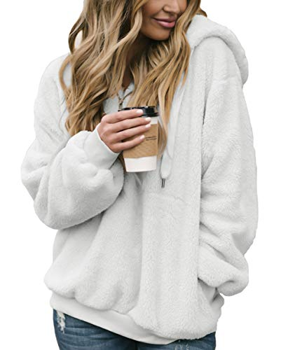 Acelitt Womens Quarter Zip Neck Oversize Solid Thick Fleece Fuzzy Hoodies Hooded Top Outwear with Pockets White Small