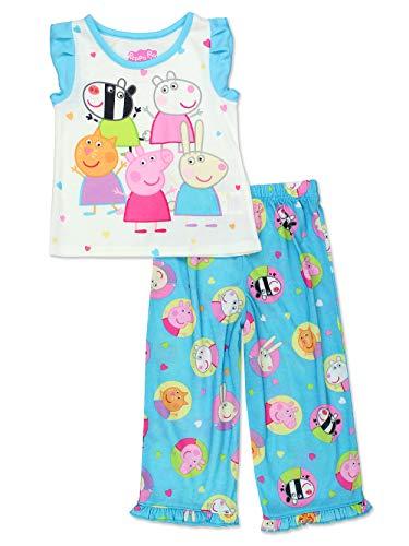 Peppa Pig Girls Toddler Soft Polyester Short Sleeve Pajamas (4T, Short Sleeve Blue)