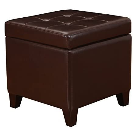 Amazon Com Adeco Bonded Leather Square Tufted Footstool 18 Brown Storage Ottomans Furniture Decor
