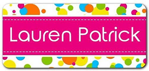 Personalized Name Labels - Cute Customized Designs for Both Babies and Kids - Great for School and Daycare - Easy-to-Apply Stickers Have a Glossy Finish – Waterproof - 48 ct. (Bubbles)