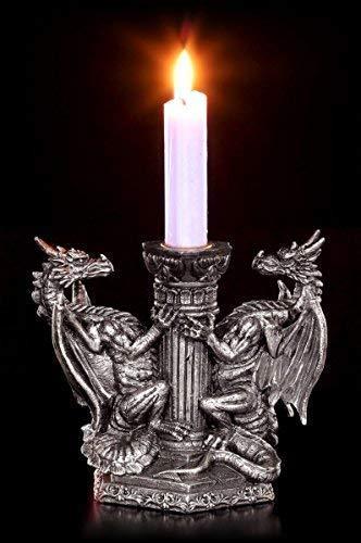 Draghi Portacandele - Guardiano Des Eterna Fuoco Candelabro Gotico Personaggio