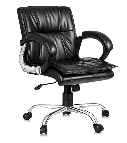 Oakcraft Office Computer Desk Chair Executive Medium Back Chair Comfortable Ergonomic Managerial Chair Adjustable PU Leather Home Office Desk Chair Swivel Black