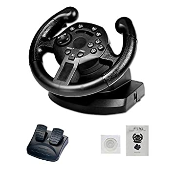 Topaty Game Racing Steering Wheel and Pedals,2 Axis Variables D-PAD and 10 Independent Buttons Compatible with PS3/PC  D-Input/X-Input