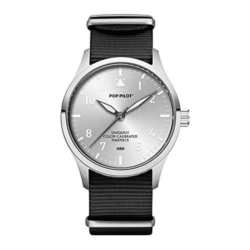 Pop Pilot Herren Analog Quarz Uhr mit Stoff Armband ORD