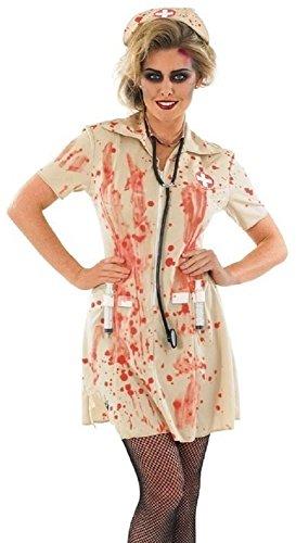Fancy Me Femmes Zombie ensanglanté Mort infirmière déguisement Halloween Costume déguisement avec seringue 8-22 Grande Taille - Marron, Marron, 8-10