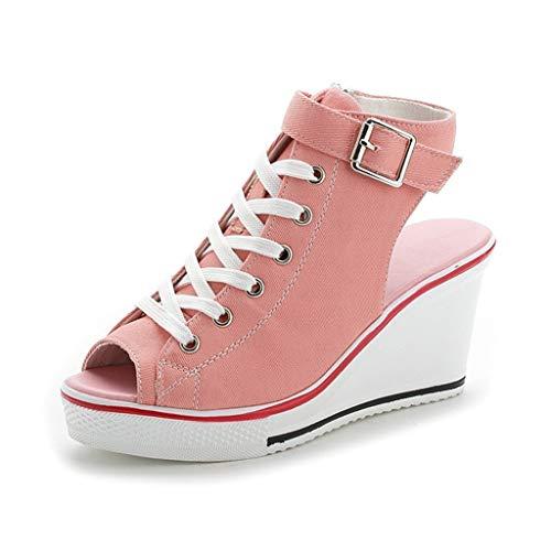 DFMNE Sandalen für Party, Königin, Damen, Hochzeit, Frühling, Sommer, Persönlichkeit, Segeltuch, hohe verstellbare Schnalle, Peep Toe Creepers Wedges Schuhe Fashion 2019, Pink - Rose - Größe: 37 EU