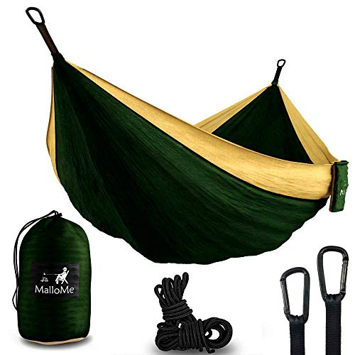 XL Double Parachute Camping Hammock - Tree Portable with Max 1000 lbs Breaking Capacity - Lightweight Carabiners and Ropes Included for Backpacking,...