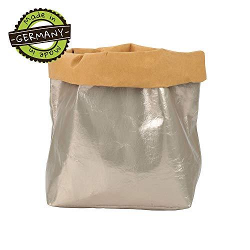 papyrMAXX oprolbox Stuff maat XL duurzaame veelzijdige-mand van wasbaar papier 0,55cm sterk I Opslagmand voor bad - en kinderkamer etc. I cadeaubuidel planten planter platinametaal
