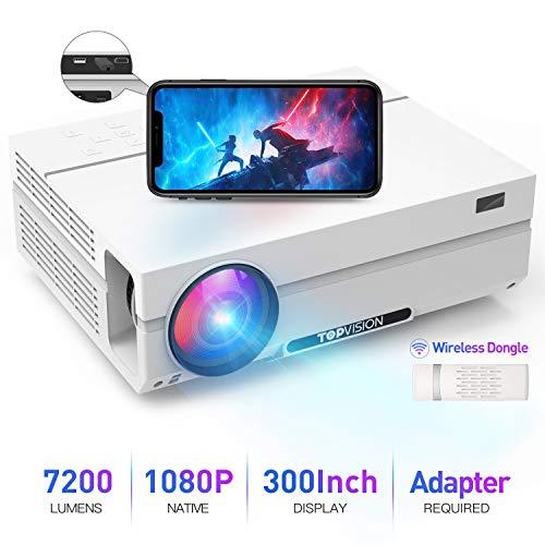 TOPVISION Heimkino Beamer mit Tragetasche,7200 Lumen Video Beamer with 80.000 Stunden Verlängert,Native 1080P LCD Beamer Full HD,4K 300'' Heim/Berufsbeamer für Smartphone/PC/TV-Box/Laptop/PS4/PPT