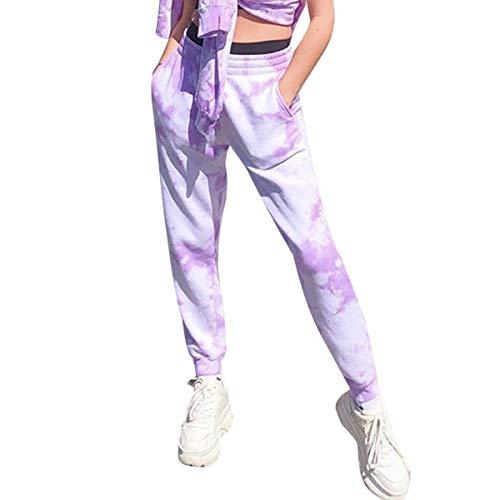 Mujer Pantalones de Chándal con Efecto Tie Dye, Comodo Pantalones Largos Sueltos de Camuflaje con Bolsillos, Divertidos Pantalones Deportivos para Casa Ejercicios Yoga (3XL, Tie-Dye Púrpura)