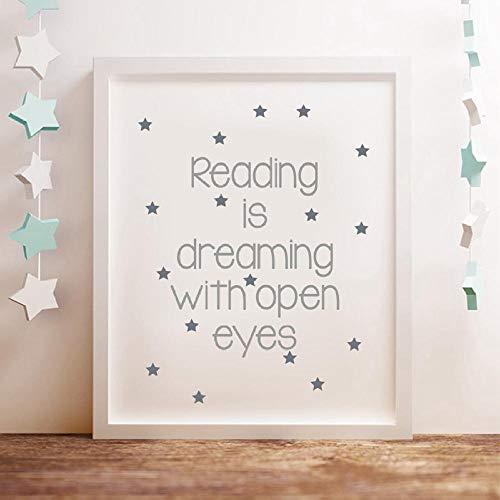 Lettura Quotes Canvas Poster Art Poster, leggere è sognare con gli occhi aperti Quote Wall Art Prints Lettura Angolo Decorazione 40x50cm Senza cornice