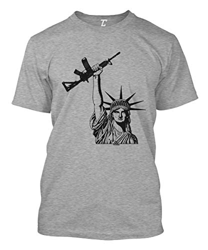 Statue of Liberty Assault Rifle - Gun Rights Men's T-Shirt (Light Gray, X-Large)