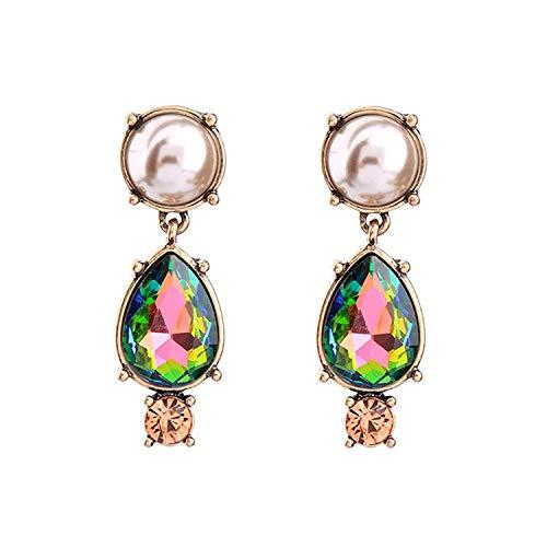 Thumby Fashion Trend Accessoires Retro Oor Kleur met Goud Diamant Sieraden Legering Parel Drop Meisje Oorbellen