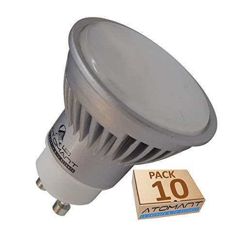 Pack 10x GU10 7W Halogeno LED 680 lumenes Reales. Color Blanco cálido (3000K). Angulo 120 Grados