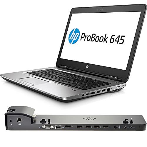 HP ProBook 645 G3 - Ordenador portátil de 14 pulgadas FullHD   AMD A6-8530B 2,3 GHz   SSD 256 GB   RAM 8 GB   Webcam teclado italiano + estación de acoplamiento (reacondicionado)