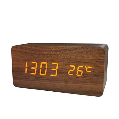 置き時計 置時計 デジタル おしゃれ 北欧 木目調LED アンティーク 時計 クロック 目覚まし時計 デジタル時計 アラーム時計 卓上 アラーム 日付 温度 木製 ウッド シンプル インテリア リビング 新築祝い (ブラウン)…