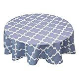 Allenjoy Round 90 Inch Diameter Tablecloth 100% Polyester Waterproof and Spill-Proof Washable Geometric Quatrefoil Table Cloth for Holiday Party, Dinner, Buffets, Picnic Decoration, Light Blue-Grey