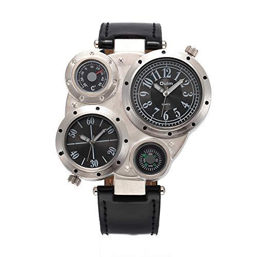 Oulm HP-9415 - Reloj de pulsera deportivo de cuarzo para hombre, diseño de brújula, color negro