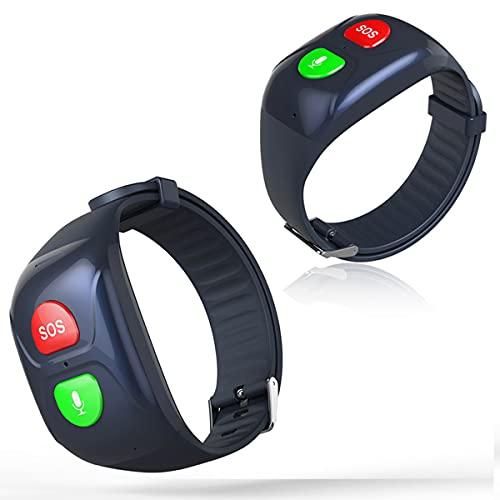 TTSLVS Reloj Inteligente 4G para Personas Mayores, Pulsera SOS, rastreador GPS, Llamada de Emergencia SOS, ubicación GPS, teléfono, Reloj Inteligente para teléfonos Android e iOS,Negro
