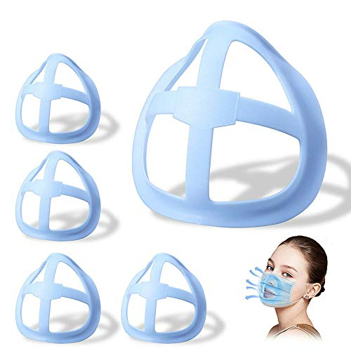 LOPP 3D Silicone Bracket for Mask, Reusable Washable Mask Inner Support Frame for Comfortable Mouth Breathing Space 5pcs Blue