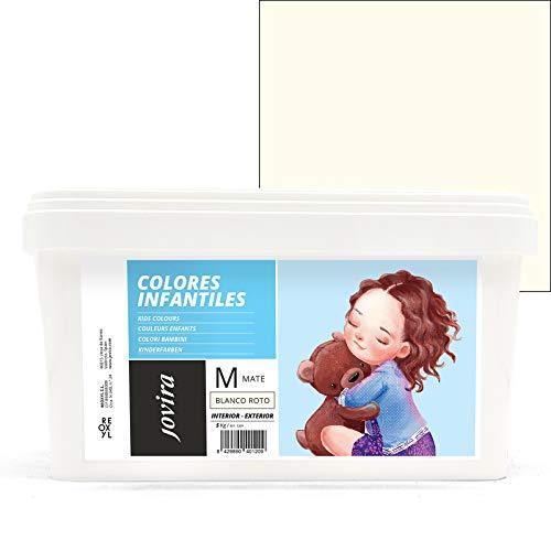 COLORES INFANTILES Pintura plástica ecológica sin olor e hipoalergénica de acabado mate y luminoso. (5 KG, BLANCO ROTO)