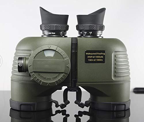 YHML Teleskop 7X50 Leistungsstarke HD Wasserdicht Marine-Fernglas Ebene Mit Kompass Entfernungsmesser Kompass Wenig Licht Nachtsichtfernglas,Army Green