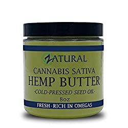 HEMP BUTTER.  100% All Natural Hemp Seed Butter.  Handcrafted.  Helps with Pain, Stress, and more.   Food Grade.  Vegan.  8 Ounce Jar