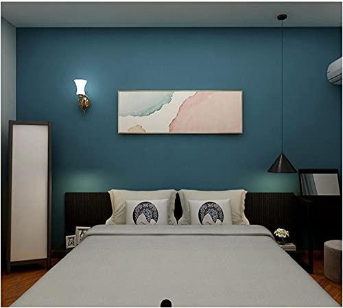 Moderno Minimalista 3D Papel Pintado no tejido 9,5m x 0,53m Color puro de seda fresca azul Papel de Pared para Dormitorio...