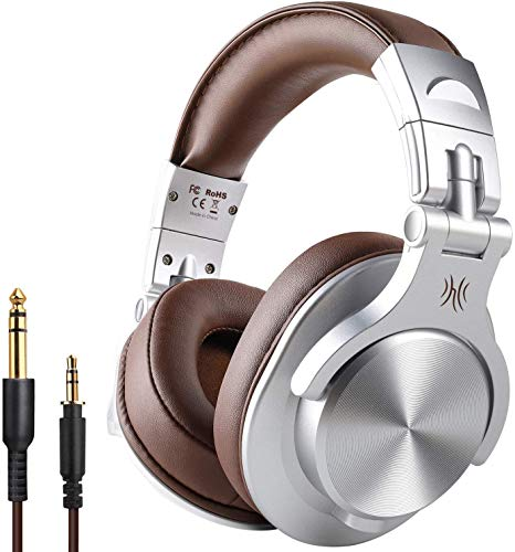 OneOdio A70 Over Ear Bluetooth Headphones, Foldable Wireless and Wired Headset with Microphone, Professional Studio Monitor Mixing Headphones for TV/PC/Phone
