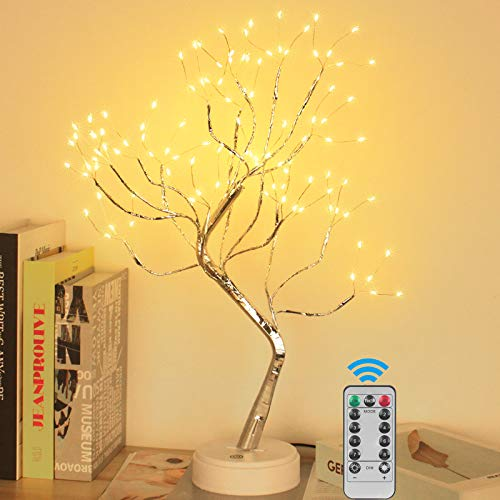 YOLIYOQU 20''Artificial Bonsai Tree Light,Artificial Tree Light with 108 LED Lights and Remote Control, Tabletop Artificial Bonsai Birch Tree Light,Deco of Bedrooms Wedding and Christmas Party