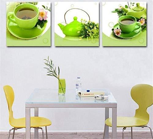 3 Stukken Modern Stilleven Canvas Schilderij Groene Theepot Schilderijen Versier Woonkamer Keuken Wandfoto's Home Decor(40x60cmx3 geen frame)