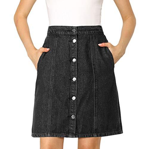 Allegra K Women's Denim Skirts Short Button Down Jeans Skirt X-Small Black