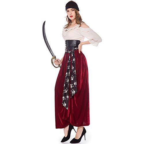 LISI Damen Piratin Kostüm Cosplay, Fluch Der Karibik Mittelalter Erwachsener Sexy Gothic Kleid Mit Halstuch, Karnavel Faschingkostüm Verkleidung,A,XL