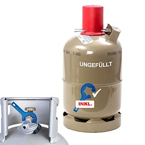CAGO 5 kg Gas-Flasche Propangas Neu, ungefüllt, leer, für Gasgrill, Gaskocher, INKL Gasregler-Schlüssel