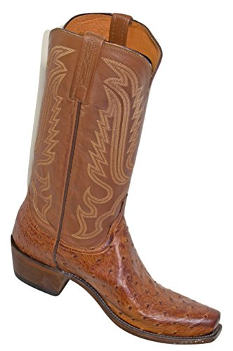 Lucchese handgemachte Lukas Full Quill Strauß Western Boot schmale Square Toe Tan 8D