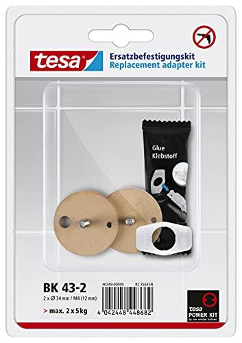 Tesa Befestigungsadapter BK43-2 (selbstklebend, inkl. Klebetube und Ausdrückhilfe, Durchmesser 34mm)