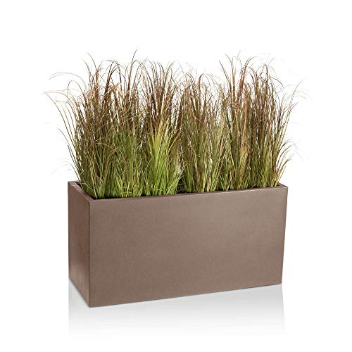 Pot de fleurs VISIO 50 Plastique Bac à Plantes, 100x40x50 cm, cappuccino mat, garantie de 8 ans (résistance aux UV), résistant au gel - DECORAS bac à plantes haut de gamme