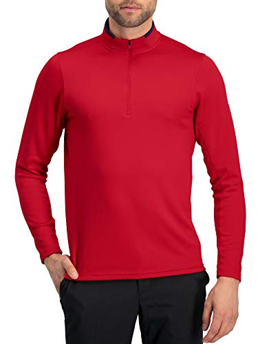 %20 OFF! Golf Half Zip Pullover Men - Fleece Sweater Jacket - Mens Dry Fit Golf Shirts True Red