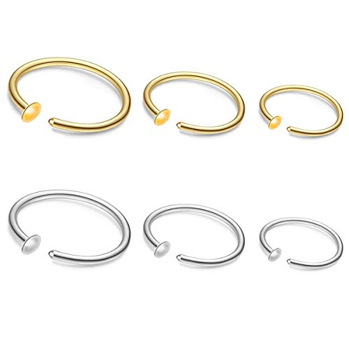 ZogCowy 6Pcs 22G Gold Nose Ring Hoop Surgical Steel Small Thin Cartilage Nose Ring Tiny Snug Fit Nose Piercing Jewelry 6mm 7mm 8mm Adjustable