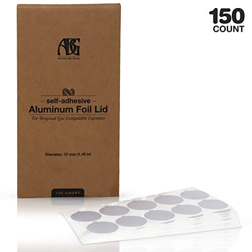 Aluminum Espresso Lids - 150 Foil Seals for Reusable & Refillable Stainless Steel Capsules & Pods, Compatible with Nespresso Original Line - 37mm Diameter