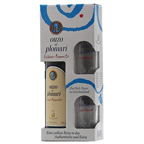 Ouzo of Plomari 0,7 L 40% vol + 2x Ouzo-Glas im Geschenkkarton