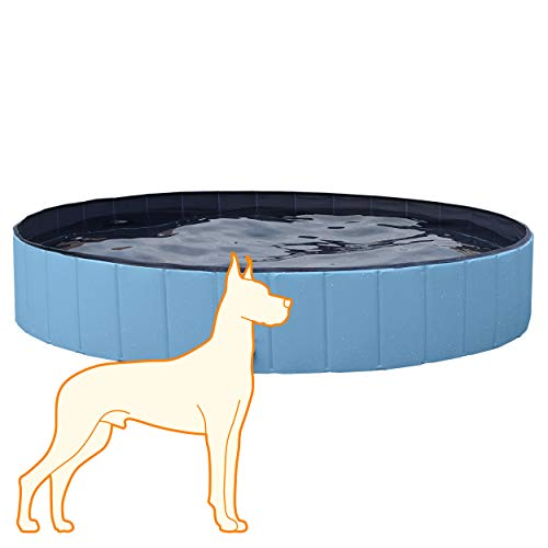 YAHEETECH Foldable Bath Pool Collapsible Large Pool Bathing Swimming Tub Pool for Dogs,63 x 12 inch, Blue