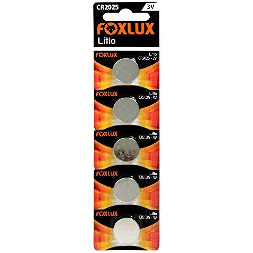 Bateria de Lítio Foxlux – CR2025 – 3V – Cartela com 5 unidades – Ideal para controles de portão, alarmes de carro, brinquedos e aparelhos auditivos