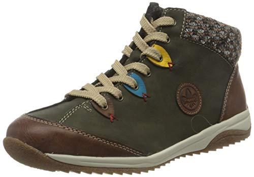 Rieker Damen L5222-24 Hohe Sneaker, Grün (Brandy/Forest/Azzuro/Senf/Terra 24), 39 EU