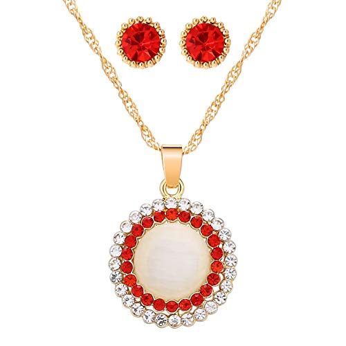 DYFUHO Opal Stone Jewelry Sets,gold Round Pendant Necklace + Stud Earrings For Women,jewelry Sets Gift 2021
