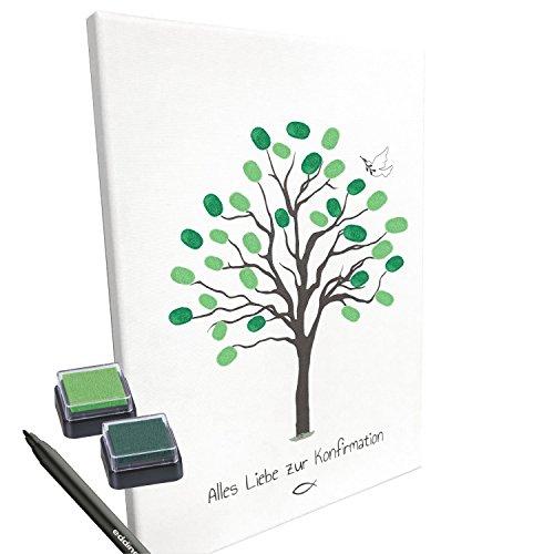 KATINGA Leinwand zur KONFIRMATION -Motiv Baum- als Gästebuch für Fingerabdrücke (30x40cm, inkl. Stift + Stempelkissen) (ohne Name)