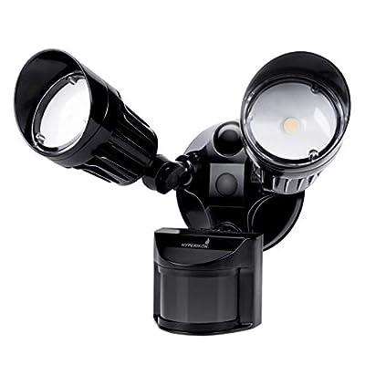 Hyperikon LED Security Light with Motion Sensor, 2 Head Dusk to Dawn, 20 Watts, UL Listed, Black