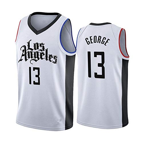 LUCKY Clippers # 13 Paul George Jersey Maglia da Basket NBA Tuta da Competizione Unisex T-Shirt per Sportivi per Appassionati di Basket,13,XL
